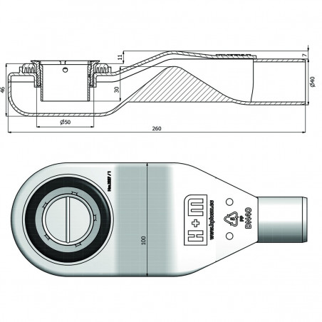 Syfon H+M Snake 50 mm