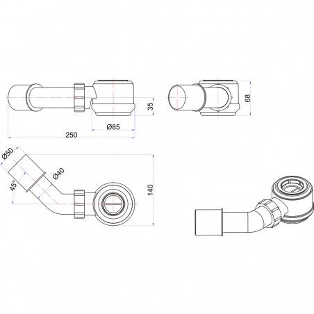 Syfon McAlpine HC26 50 mm 45°