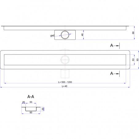 Odpływ liniowy Wiper 500 mm Invisible Slim