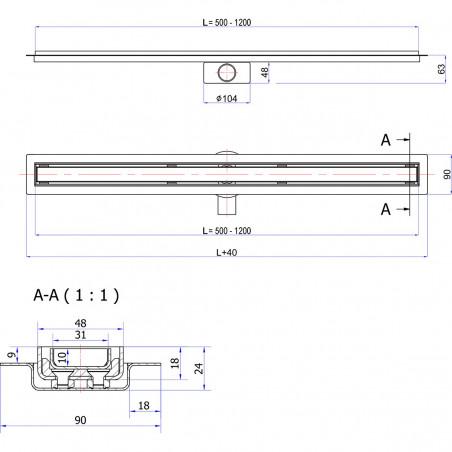 Odpływ liniowy Wiper 1000 mm Elite Slim Pure