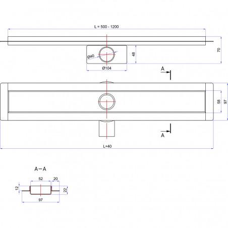 Odpływ liniowy Wiper 600 mm Premium Slim Sirocco