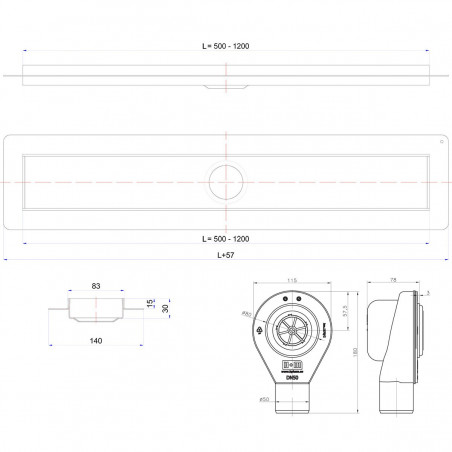 Odpływ liniowy Wiper 500 mm Premium Sirocco