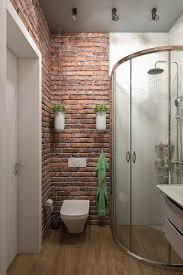 ceglana ściana pod prysznicem